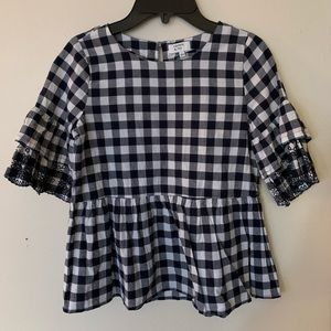Girls plaid peasant top